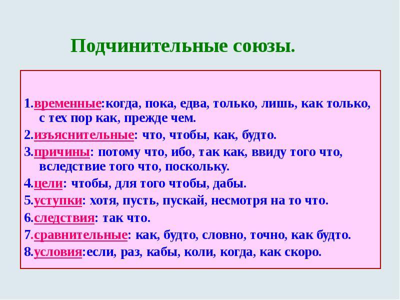 Союзы в русском языке, виды, разряды, сочинительные и подчинительные союзы, таблица, соединительные, разделительные и противительные, двойные и составные союзы, список и примеры | tvercult.ru