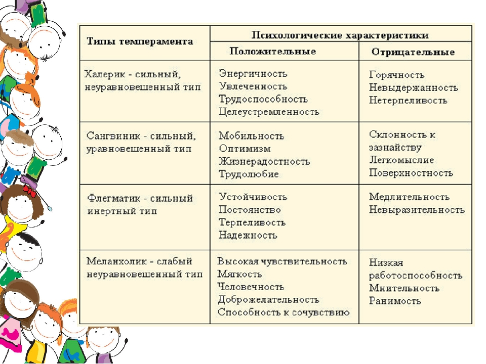 Характер и темперамент | виды темперамента и их характеристика