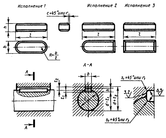 Размеры шпонок и шпоночных пазов по гост