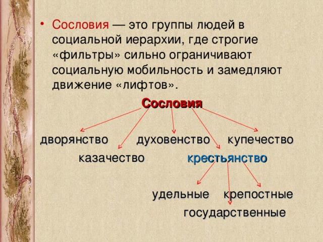 Сословия в россии