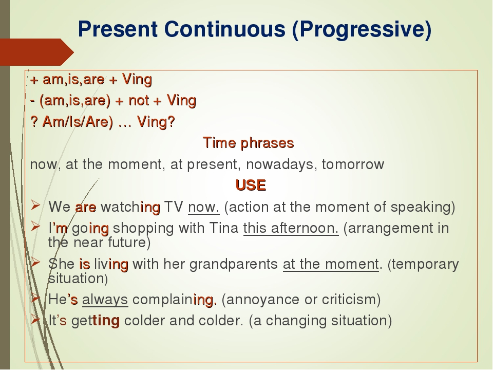 7 особенностей употребления времени present continuous