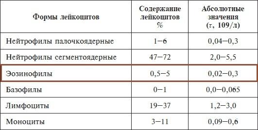 Повышенные эозинофилы в крови: о чем говорят и что это значит в анализе крови, норма у взрослого, если ли разница в содержании у мужчин и женщин, симптомы