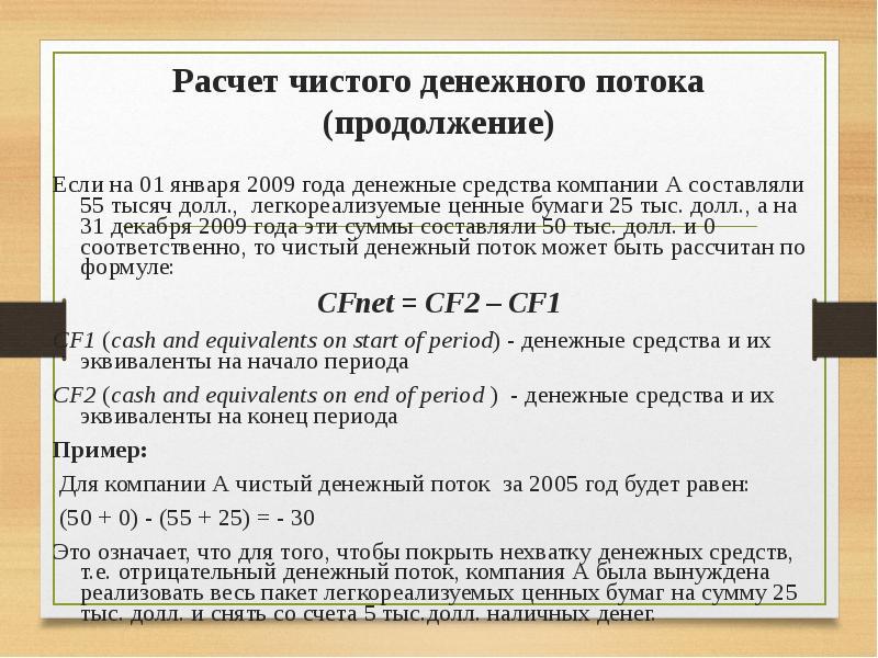 Составление отчета о движении денежных средств (cash-flow)