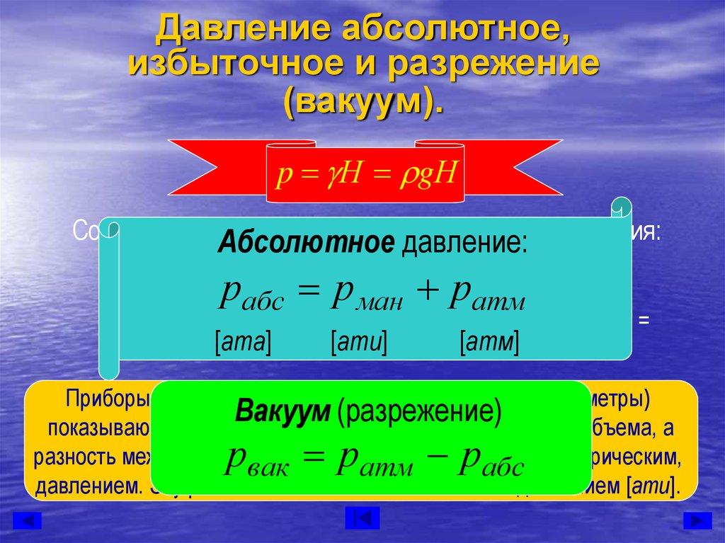 Типы давления: абсолютное давление, избыточное давление, дифференциальное давление