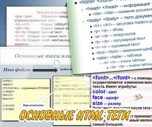 Основные теги html для сайта. примеры использования html тегов