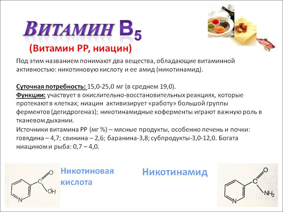 Никотиновая кислота — показания к применению (никотинамид, ниацин)