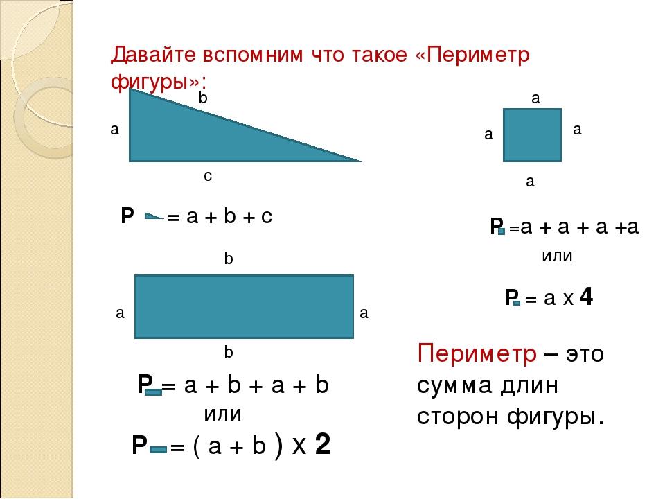 Периметр, площадь и объём