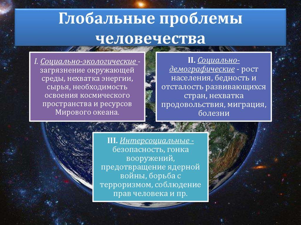 Глобальные проблемы человечества, краткая таблица-список с основными примерами по обществознанию