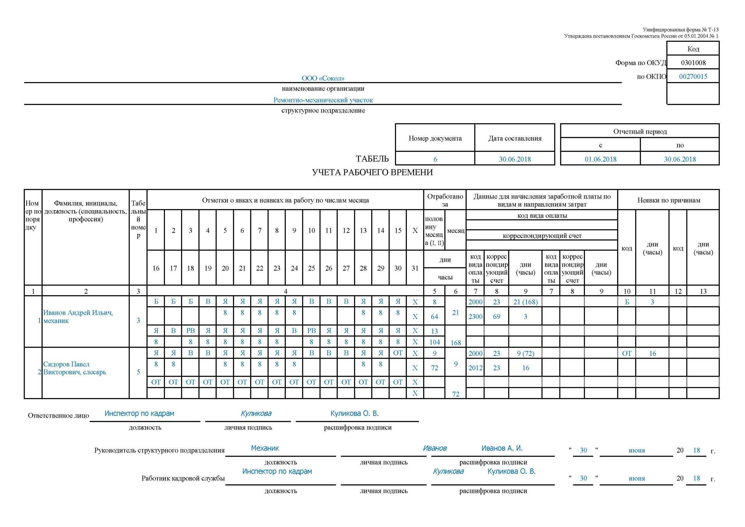 Табель учёта рабочего времени на 2020 год. форма т-12 и т-13
