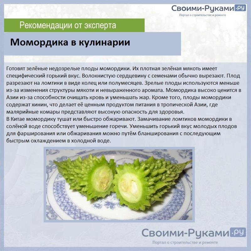 Момордика - характеристики, состав, применение, рецепты, польза и вред