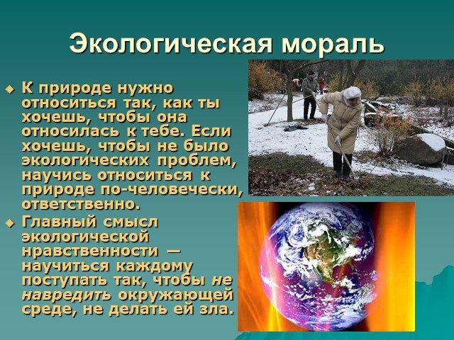В чем состоит смысл экологической морали? три главных правила экологической морали, принципы.