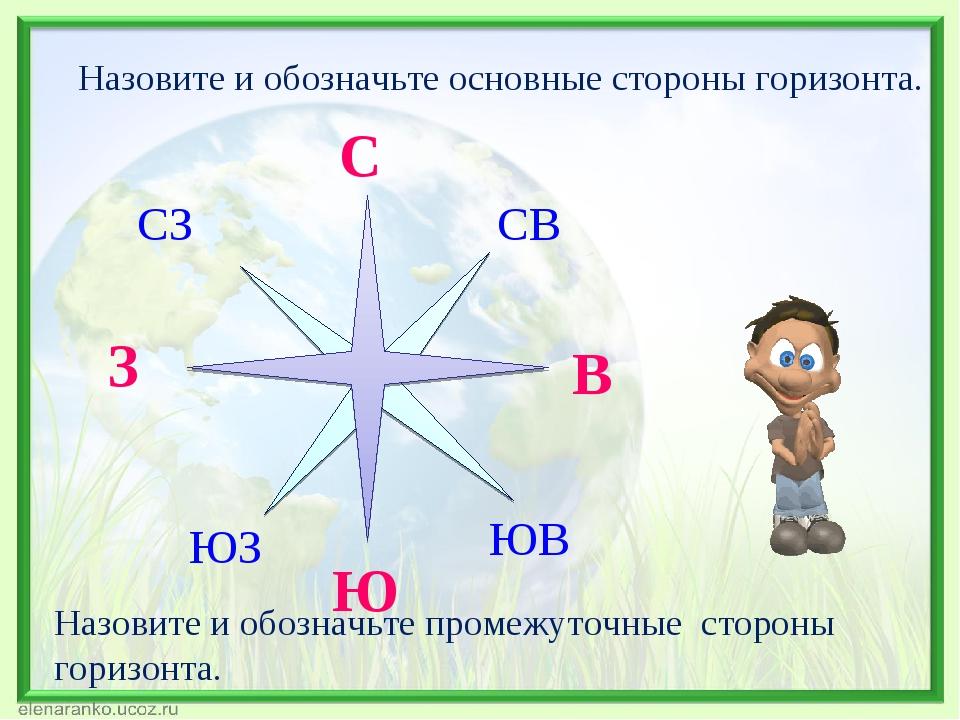 Стороны горизонта (окружающий мир, 2 класс): основные и промежуточные направления, способы их определения