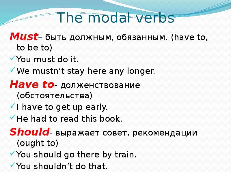 Модальные глаголы в английском языке - правила и примеры употребления