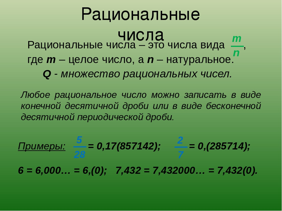 Рациональные числа, понятие и примеры.   tutomath