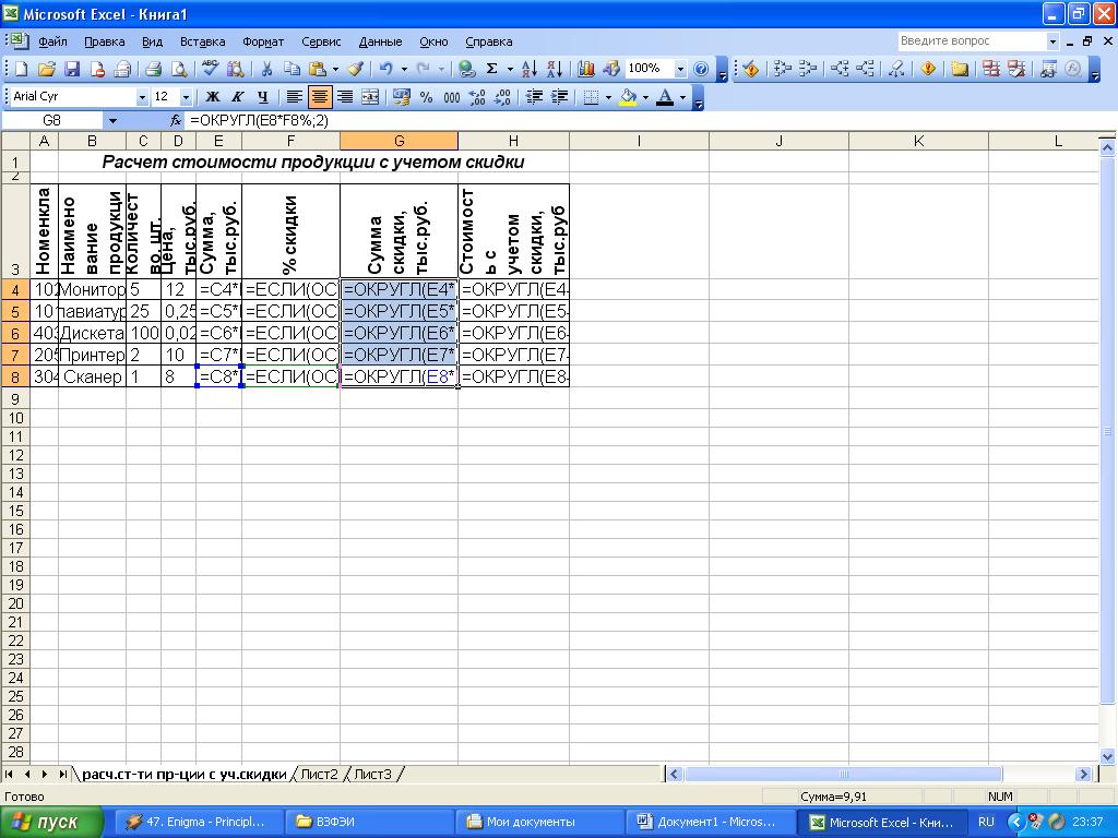 Глава 10. электронные таблицы