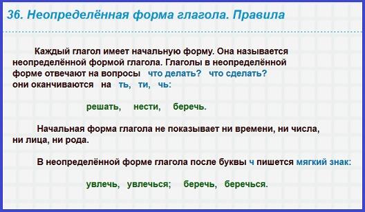 Глагол: определение, признаки, таблицы, правила