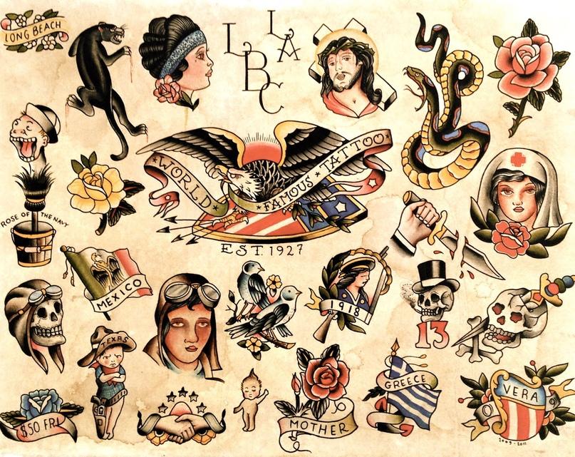 Тату в стиле олд скул (old school) + фото и значение татуировок