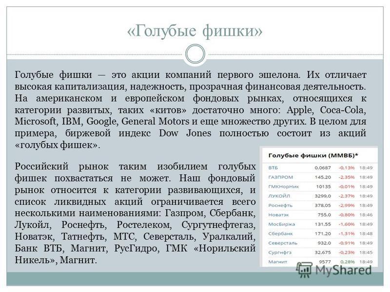 Актуальный список и характеристики акций на московской фондовой бирже