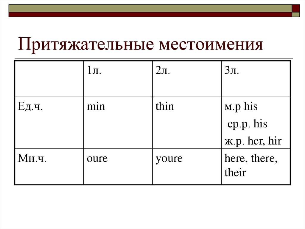 Притяжательные местоимения в русском языке