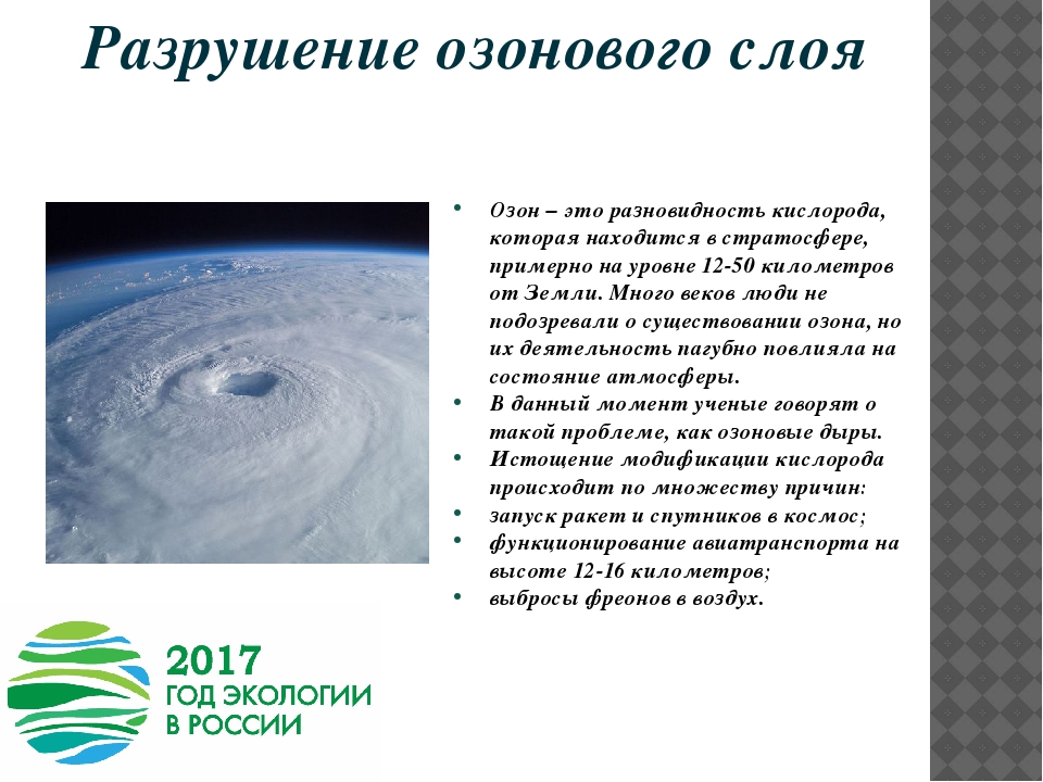 Озоновые дыры: причины и последствия