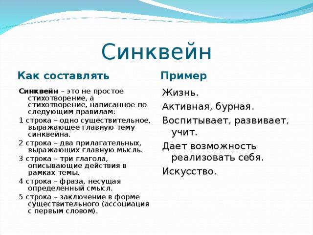 Составление синквейна с примерами :: syl.ru