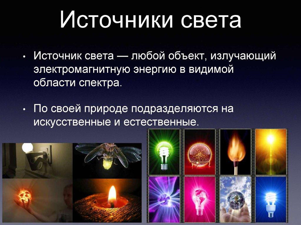 Источники света. распространение света
