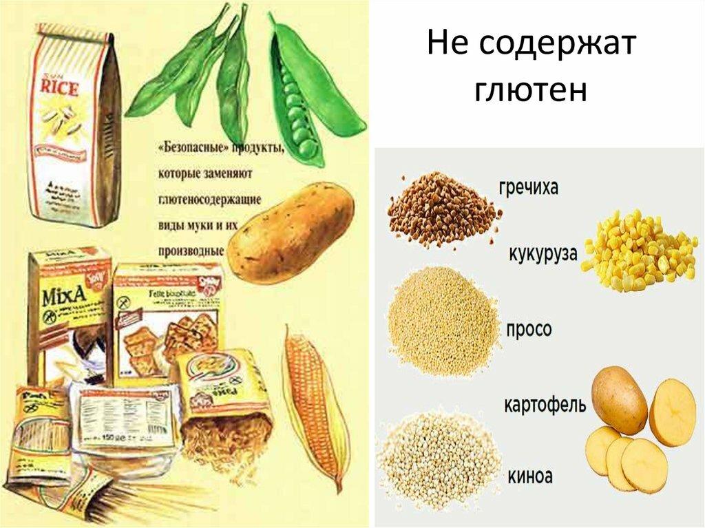 Где содержится глютен − список продуктов, таблица