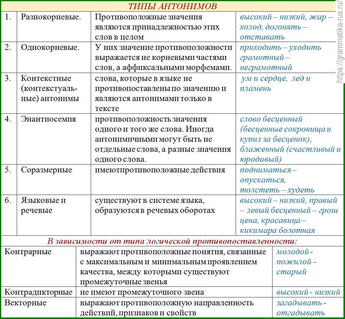 Антонимы в русском языке — определение, виды, примеры