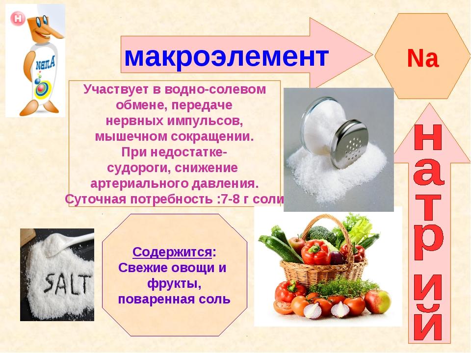В каких продуктах содержится натрий, его функции в организме