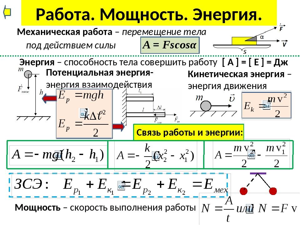 Работа и мощность в механике