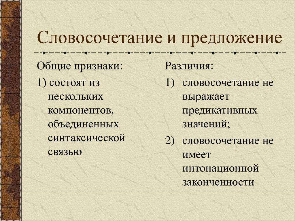 Словосочетания: признаки, виды связи, синтаксический разбор   русский язык