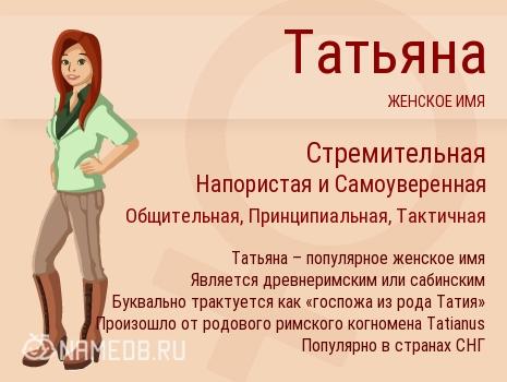 Значение имени татьяна (таня)