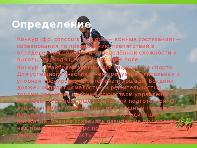 Конкур – взятие барьеров на лошади