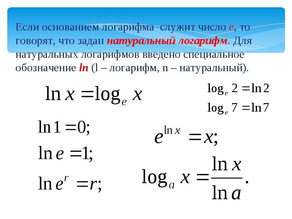 Натуральный логарифм