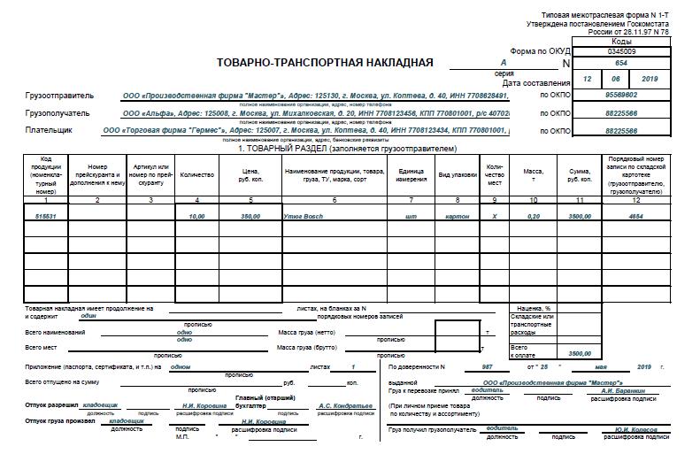 Товарно-транспортная накладная: сферы применения и правила заполнения