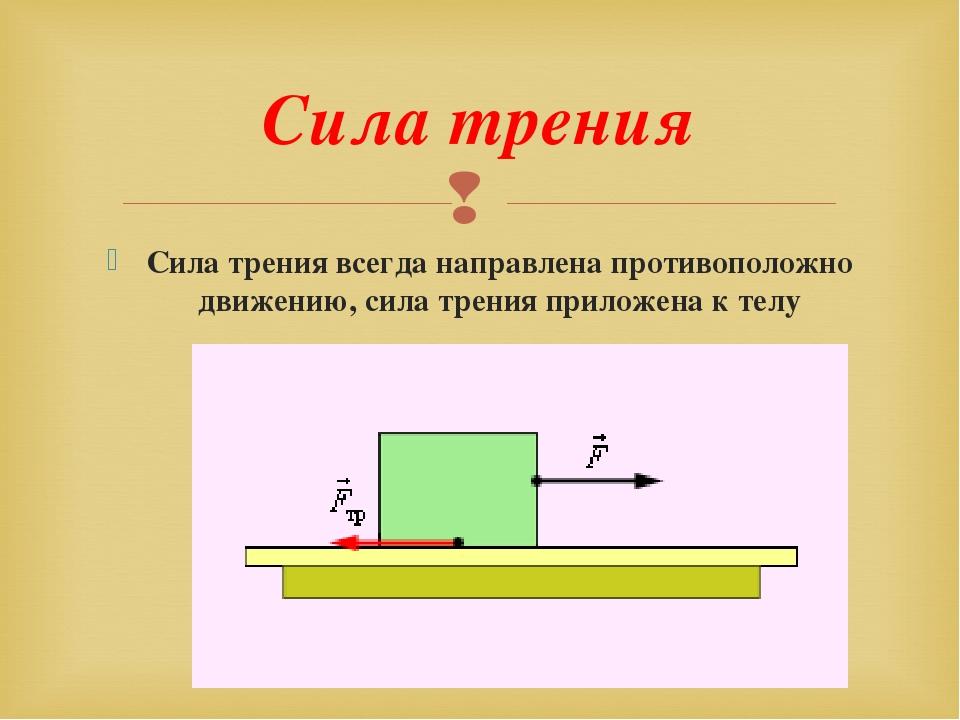 Сила трения: определение, формулы и примеры простыми словами