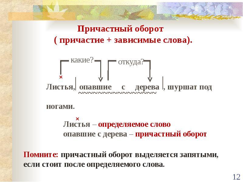 Причастный оборот: пример, определение, правила