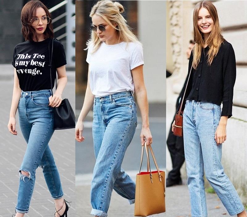 С чем носить джинсы мом: стильные фото подборки