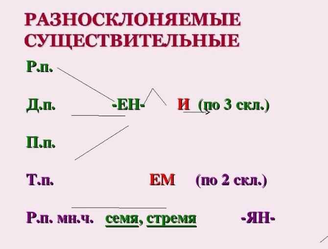 Разносклоняемые существительные. примеры