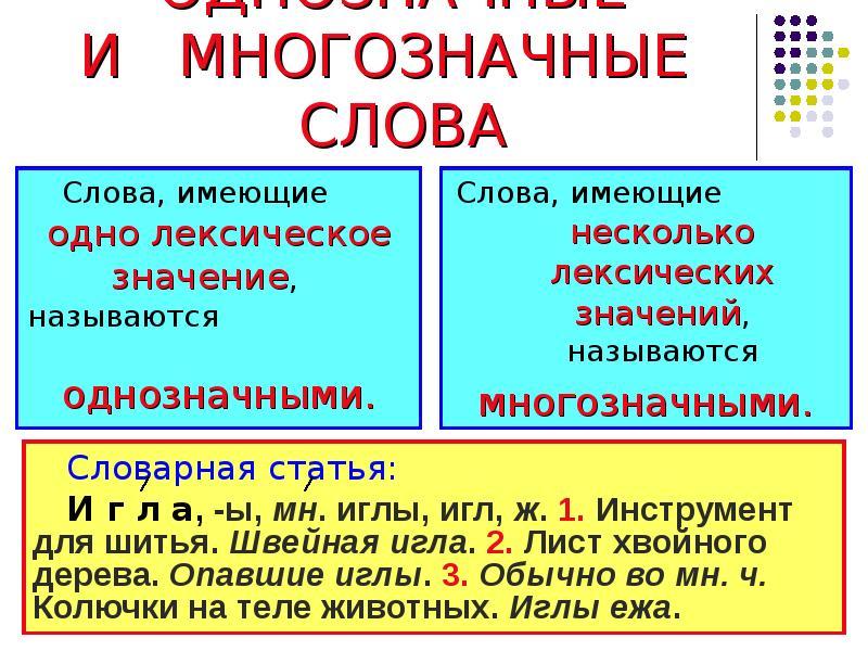 Что это - многозначные слова? примеры в русском языке