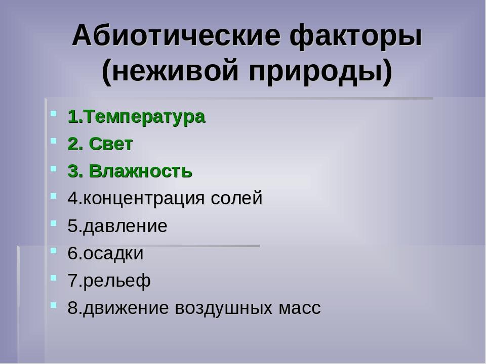 Тест по теме: «факторы среды»