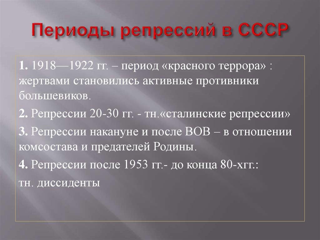 Репрессии и террор сталина в советском союзе