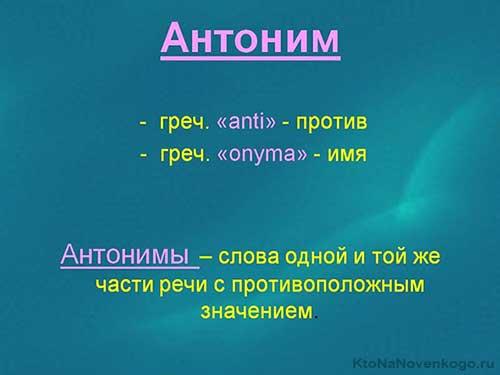 Слова-антонимы в русском языке: примеры их употребления