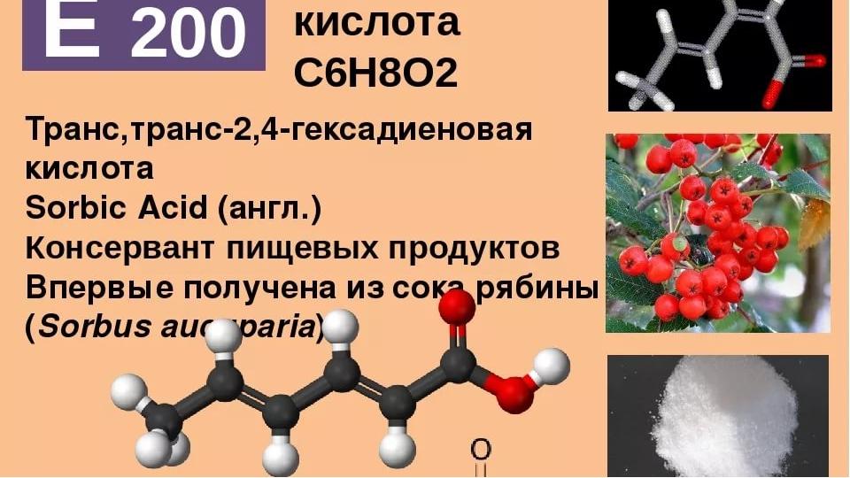 Консервант е200 (сорбиновая кислота): полезная пищевая добавка