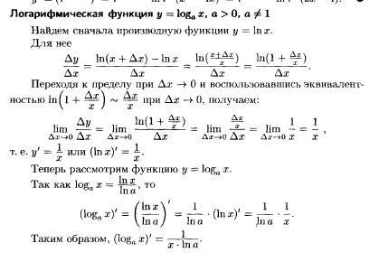 Производная натурального логарифма - ln x - доказательство