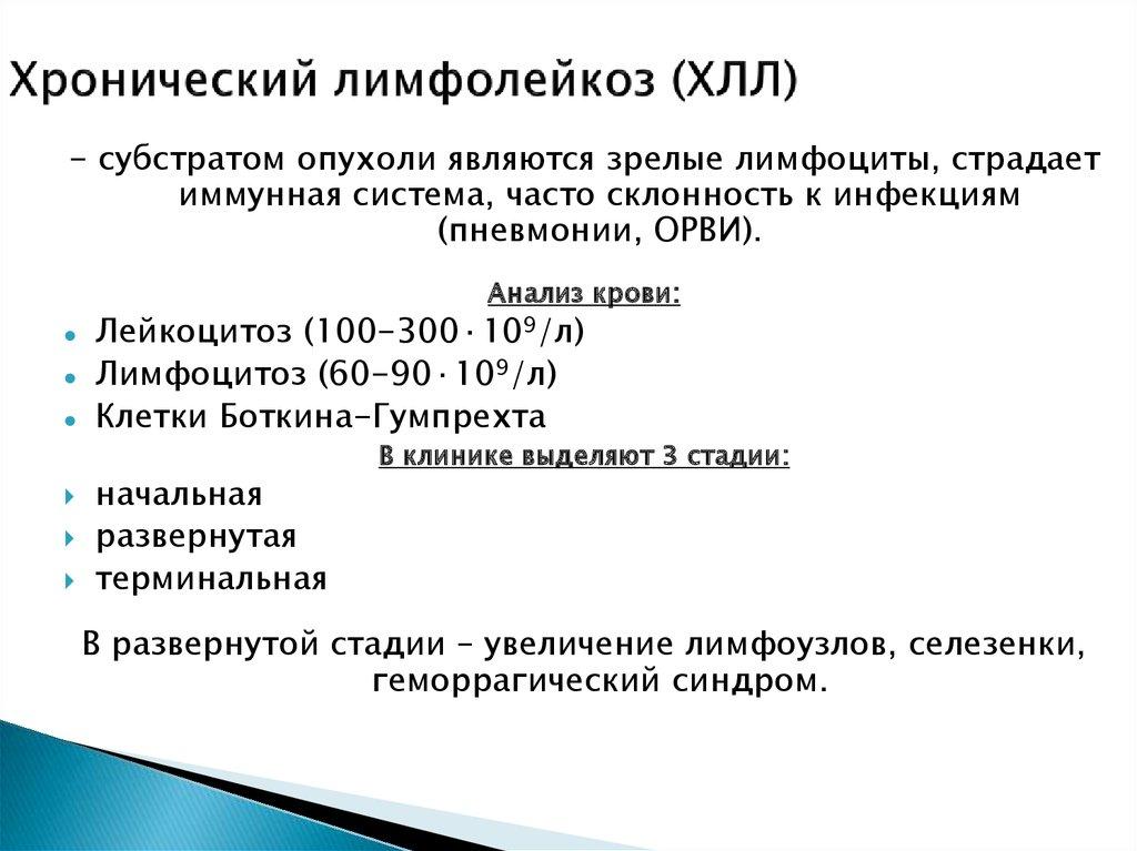 Особенности развития хронического лимфолейкоза (хлл)