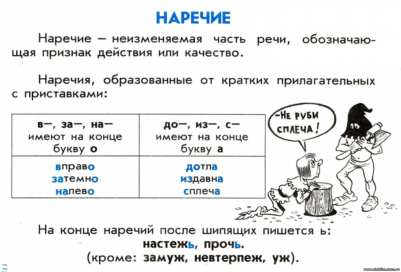 Что такое наречие в русском языке: список, предикативные, качественные и относительные, как отличить от прилагательного | tvercult.ru