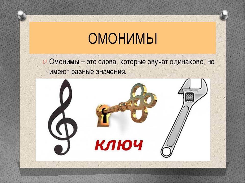 Омонимы – примеры слов в русском языке, виды (2 класс)