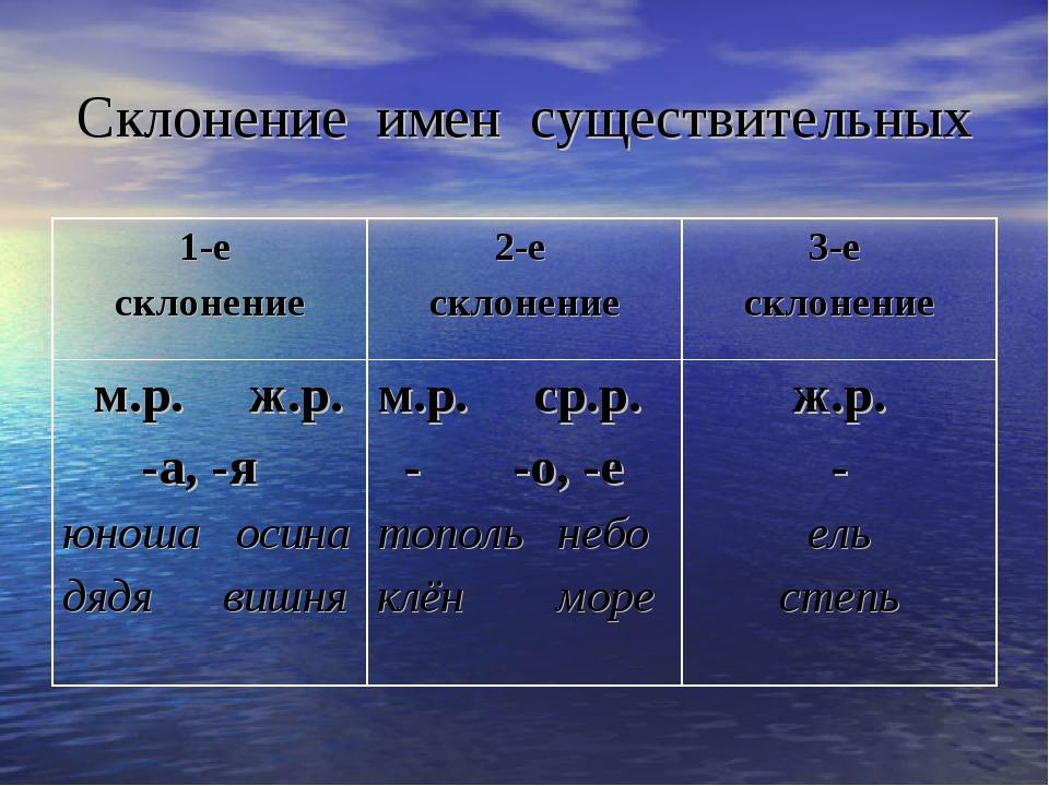 Имя существительное в русском языке: классы, род, число, падежи и склонение
