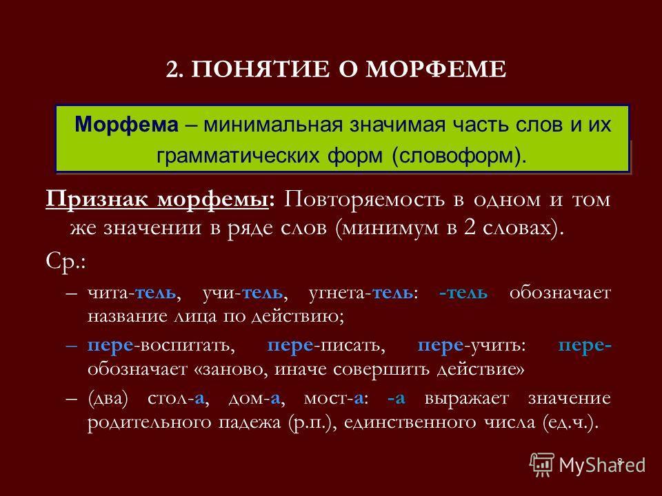 Морфема - это... определение и примеры